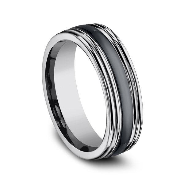Men's Wedding Bands - Tungsten and Seranite Two-Tone Design Wedding Band - image 2