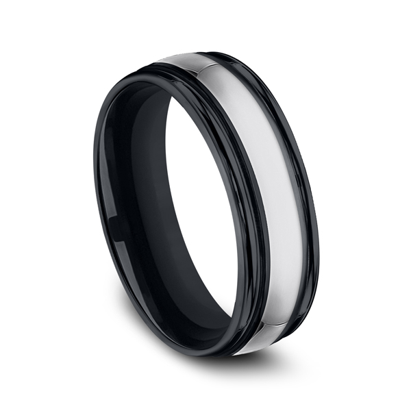 Men's Wedding Bands - Tungsten and Seranite Comfort-Fit Design Wedding Band - image 2