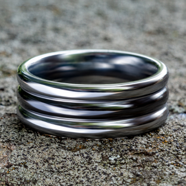 Wedding Bands - Tungsten and Seranite Comfort-Fit Design Wedding Band - image 4