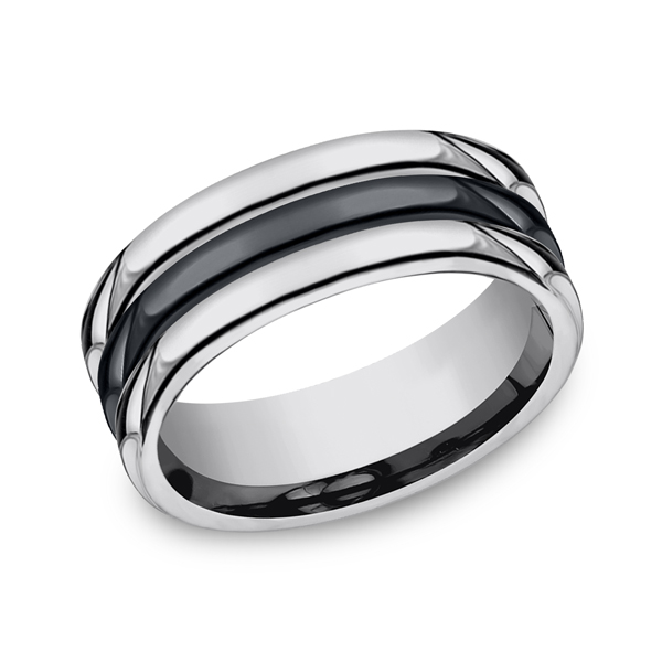 Tungsten and Seranite Comfort-Fit Design Wedding Band by Forge