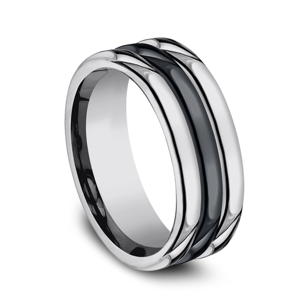 Men's Alternative Metal Wedding Bands - Tungsten and Seranite Comfort-Fit Design Wedding Band - image #2
