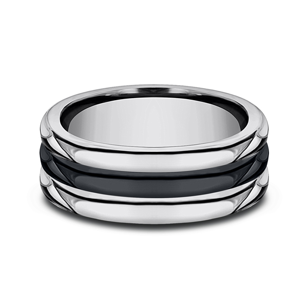 Men's Wedding Bands - Tungsten and Seranite Comfort-Fit Design Wedding Band - image 3