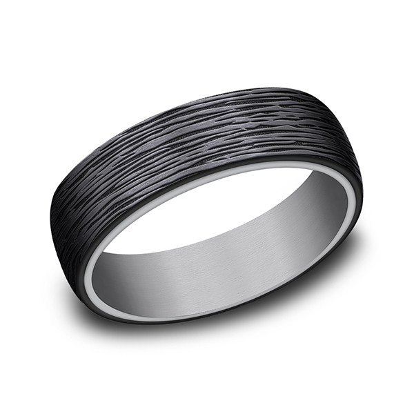 Wedding Bands - Grey Tantalum and Black Titanium ring in ring style Comfort-fit wedding band