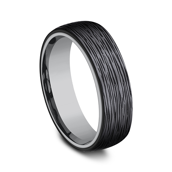 Wedding Bands - Grey Tantalum and Black Titanium ring in ring style Comfort-fit wedding band - image #2