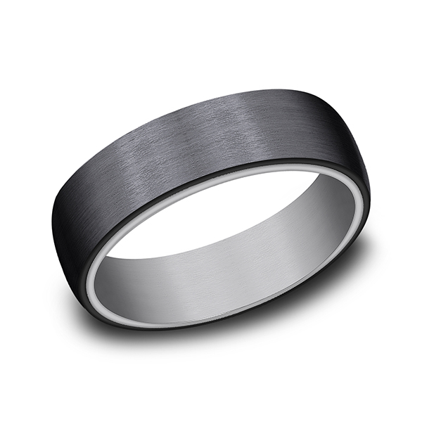 Grey Tantalum and Black Titanium ring in ring style Comfort-fit wedding band by Tantalum