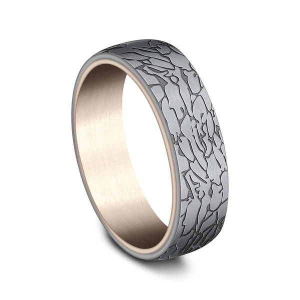 Men's Wedding Bands - Ammara Stone Comfort-fit Design Wedding Ring - image 2