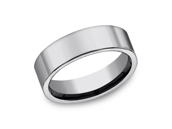 Tungsten Comfort-Fit Design Wedding Band - This cool 7mm tungsten wedding band features a comfort-fit on the inside and a flat exterior for a more traditional look. Forge by Benchmark offers contemporary wedding rings in cobalt, titanium, Damascus Steel and tungsten. Some of our most durable and rugged wedding bands for men, our Forge line of wedding rings are sure to last a lifetime.