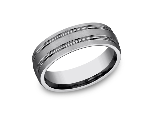 Tungsten Comfort-Fit Design Wedding Band - This satin finish 7mm comfort-fit tungsten wedding band features two parallel high polished grooves along the center for remarkable style. Forge by Benchmark offers contemporary wedding rings in cobalt, titanium, Damascus Steel and tungsten. Some of our most durable and rugged wedding bands for men, our Forge line of wedding rings are sure to last a lifetime.