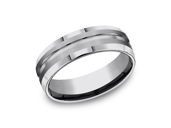 Tungsten Comfort-Fit Design Wedding Band - Framed by high polish beveled edges, this 7mm comfort-fit tungsten wedding band has a satin finish and a high polish center cut detail. Forge by Benchmark offers contemporary wedding rings in cobalt, titanium, Damascus Steel and tungsten. Some of our most durable and rugged wedding bands for men, our Forge line of wedding rings are sure to last a lifetime.