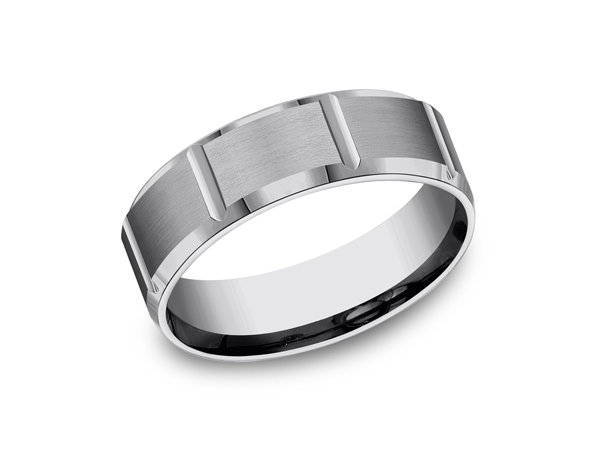 Tungsten Comfort-Fit Design Wedding Band - This 7mm Comfort-Fit satin finish Tungsten wedding band features strong vertical grooves along the center for a refined, industrial look. Forge by Benchmark offers contemporary wedding rings in Cobalt, Titanium, Damascus Steel and Tungsten. Some of our most durable and rugged wedding bands for men, our Forge line of wedding rings are sure to last a lifetime.