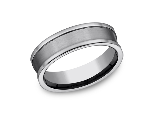 Tungsten Comfort-Fit Design Wedding Band - This awesome 7mm concaved tungsten wedding band features a satin finish center with polished edges and a comfort-fit on the inside. Forge by Benchmark offers contemporary wedding rings in cobalt, titanium, Damascus Steel and tungsten. Some of our most durable and rugged wedding bands for men, our Forge line of wedding rings are sure to last a lifetime.