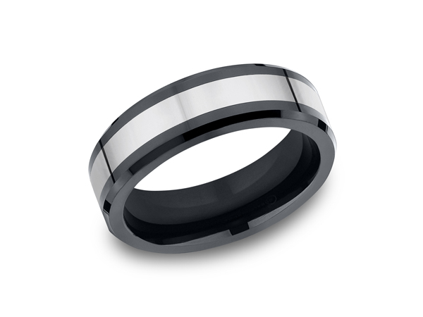 Tungsten and Seranite Two-Tone Comfort-Fit Wedding Band - This awesome 7mm Comfort-Fit Tungsten wedding band features a high polished finish with ceramic beveled edges. Forge by Benchmark offers contemporary wedding rings in Cobalt, Titanium, Damascus Steel and Tungsten. Some of our most durable and rugged wedding bands for men, our Forge line of wedding rings are sure to last a lifetime.