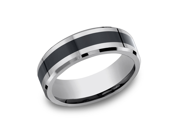 Men's Rings - Tungsten and Seranite Two-Tone Comfort-Fit Wedding Band