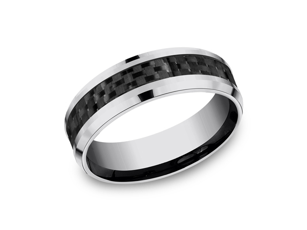 Tungsten Comfort-Fit Design Wedding Band - This unique 7mm comfort-fit tungsten wedding band features a carbon fiber center inlay with high polished beveled edges that is both sleek and subtle. Forge by Benchmark offers contemporary wedding rings in cobalt, titanium, Damascus Steel and tungsten. Some of our most durable and rugged wedding bands for men, our Forge line of wedding rings are sure to last a lifetime.
