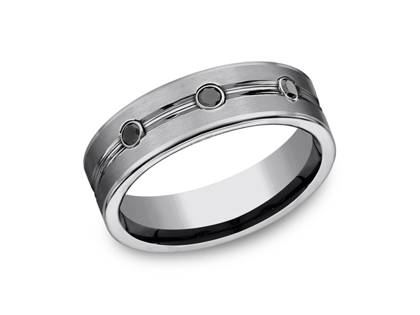 Tungsten Comfort-Fit Design Wedding Band - This incredible satin finish 7mm Comfort-Fit Tungsten wedding band features three round ideal cut black diamonds set between a polished center trim. Forge by Benchmark offers contemporary wedding rings in Cobalt, Titanium, Damascus Steel and Tungsten. Some of our most durable and rugged wedding bands for men, our Forge line of wedding rings are sure to last a lifetime.