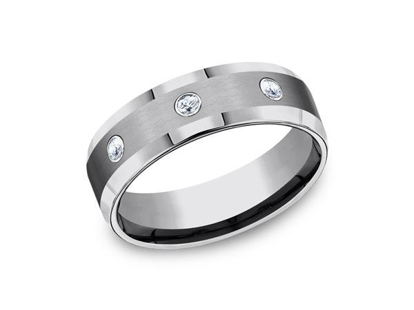 Tungsten Comfort-Fit Design Diamond Wedding Band - This incredible 7mm comfort-fit tungsten wedding band features high polished edges with three round ideal cut stones set along a satin finish center. Forge by Benchmark offers contemporary wedding rings in cobalt, titanium, Damascus Steel and tungsten. Some of our most durable and rugged wedding bands for men, our Forge line of wedding rings are sure to last a lifetime.