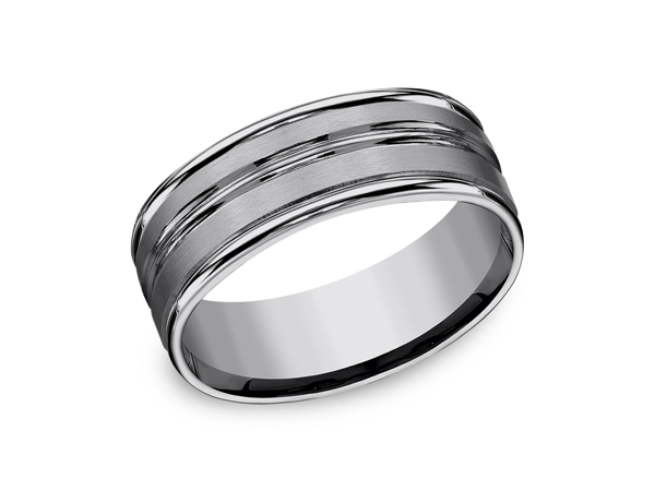 Tungsten Comfort-Fit Design Wedding Band - This 8mm Comfort-Fit Tungsten wedding band features rounded edges and a center cut for a contemporary look on a classic style. Forge by Benchmark offers contemporary wedding rings in Cobalt, Titanium, Damascus Steel and Tungsten. Some of our most durable and rugged wedding bands for men, our Forge line of wedding rings are sure to last a lifetime.