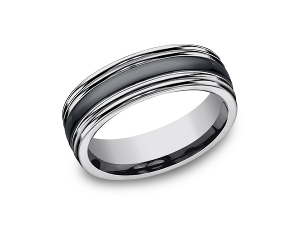 Tungsten and Seranite Two-Tone Design Wedding Band - This incredible 7mm comfort-fit tungsten wedding band features a high polish finish with a center inlay of ceramic and double rounded edges. Forge by Benchmark offers contemporary wedding rings in cobalt, titanium, Damascus Steel and tungsten. Some of our most durable and rugged wedding bands for men, our Forge line of wedding rings are sure to last a lifetime.