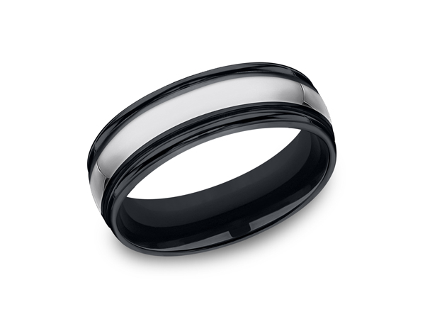 Tungsten and Seranite Comfort-Fit Design Wedding Band - This awesome 7mm Comfort-Fit Tungsten wedding band features a high polish finish with round ceramic edges. Forge by Benchmark offers contemporary wedding rings in Cobalt, Titanium, Damascus Steel and Tungsten. Some of our most durable and rugged wedding bands for men, our Forge line of wedding rings are sure to last a lifetime.