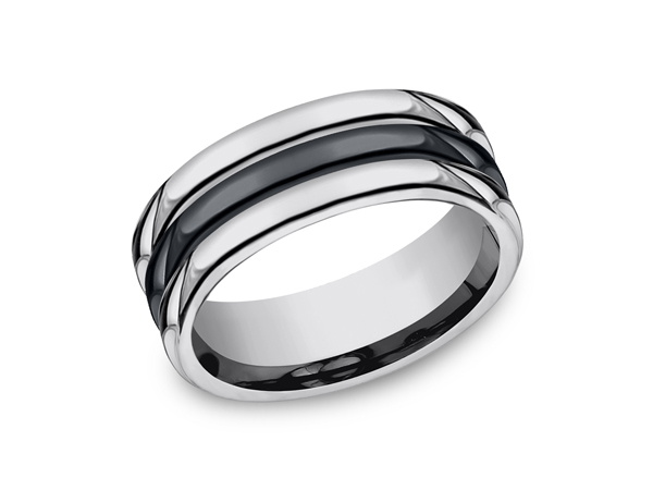 Tungsten and Seranite Comfort-Fit Design Wedding Band - This unique 8mm comfort-fit tungsten wedding band features a high polish finish with a center ceramic inlay and round edges. Forge by Benchmark offers contemporary wedding rings in cobalt, titanium, Damascus Steel and tungsten. Some of our most durable and rugged wedding bands for men, our Forge line of wedding rings are sure to last a lifetime.