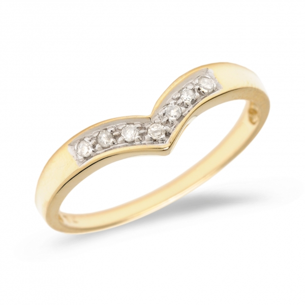 10K Yellow Gold Diamond Chevron Ring by Color Merchants