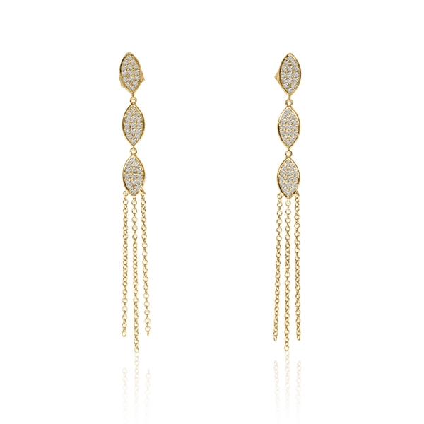 14k Yellow Gold 3 Leaf 3 Chain Drop Earrings by Color Merchants
