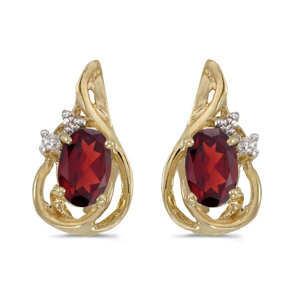 14k Yellow Gold Oval Garnet And Diamond Teardrop Earrings E1219x 01 From Karen S Jewelers Oak Ridge Tn