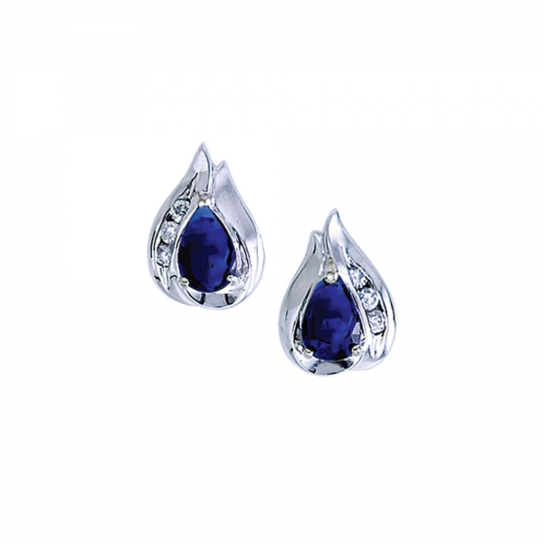 14k White Gold Pear Sapphire And Diamond Earrings by Color Merchants