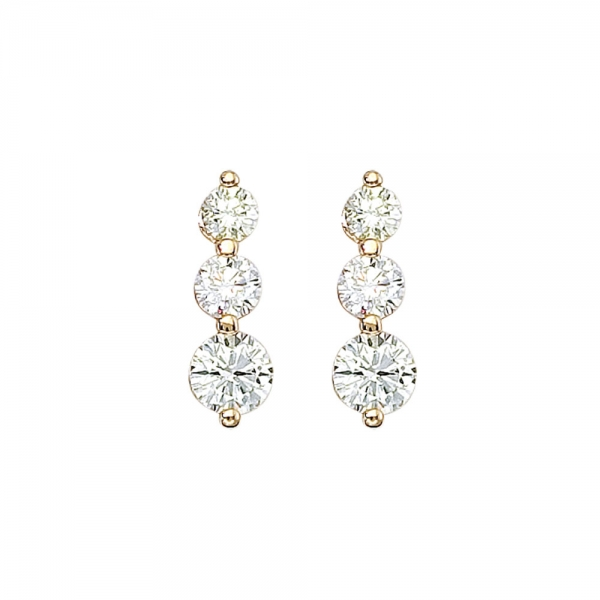 14k Yellow Gold 2 ct 3 Stone Diamond Earring by Color Merchants