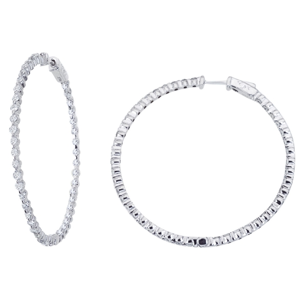 14K White Gold 2.7 Ct Diamond 50mm Round Secure Lock Hoop Earrings by Color Merchants