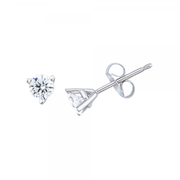 14K White Gold .33 Ct Diamond Martini Setting Stud Earrings by Color Merchants