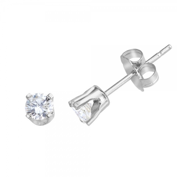 14k White Gold Round .33 Carat Diamond Stud Earrings by Color Merchants
