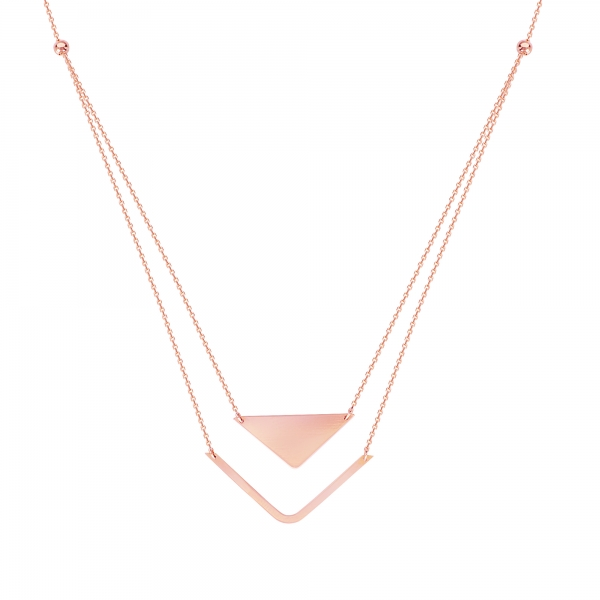 14K Rose Gold Double Layer Geometric Necklace by Color Merchants
