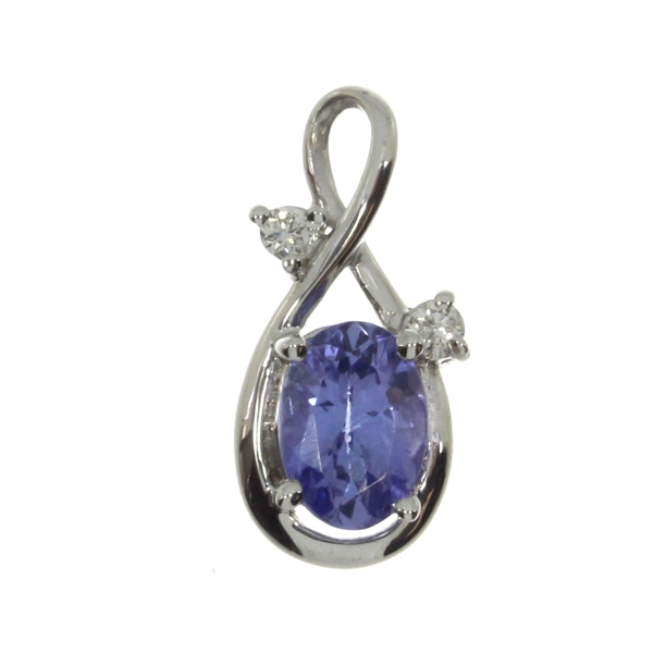 14K White Gold 7x5 Oval Tanzanite and Diamond Pendant by Color Merchants