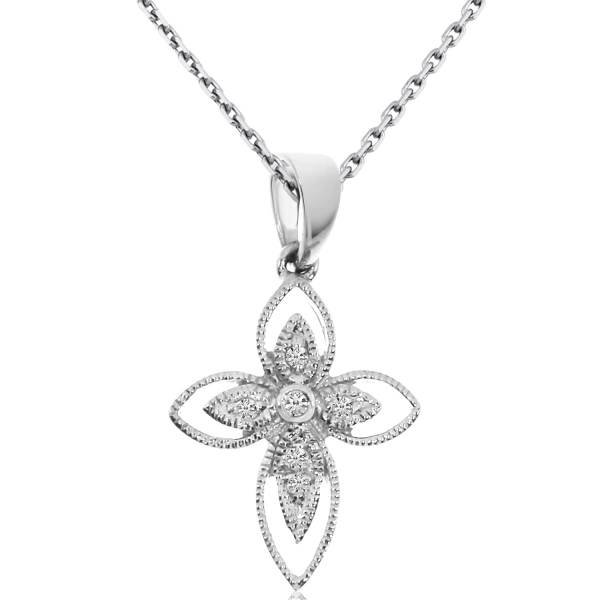14K White Gold Small Rope Diamond Cross by Color Merchants