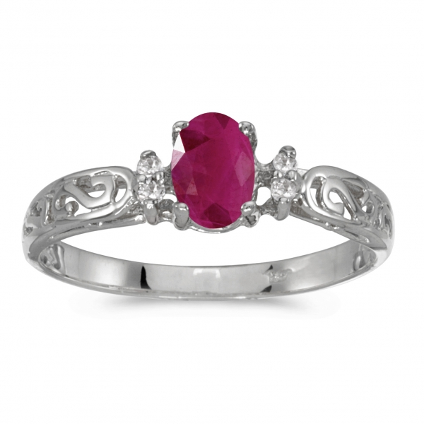 10k White Gold Oval Ruby And Diamond Ring by Color Merchants