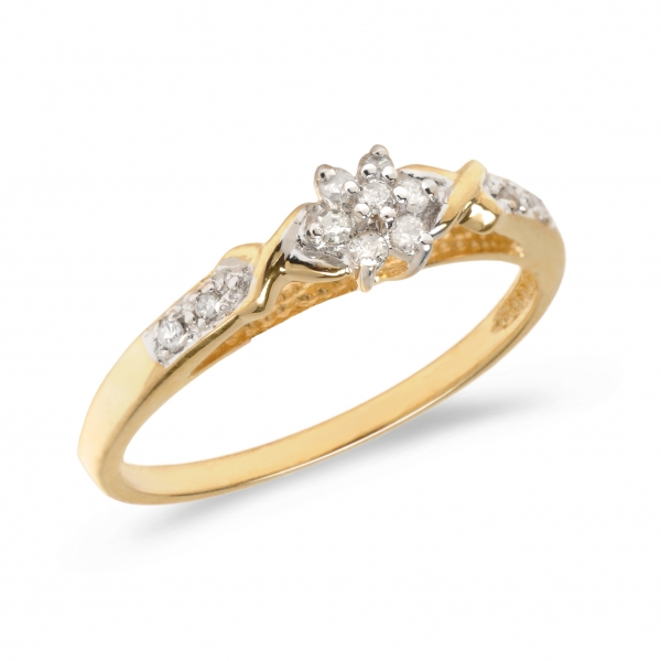 10K Yellow Gold Diamond Cluster Ring by Color Merchants