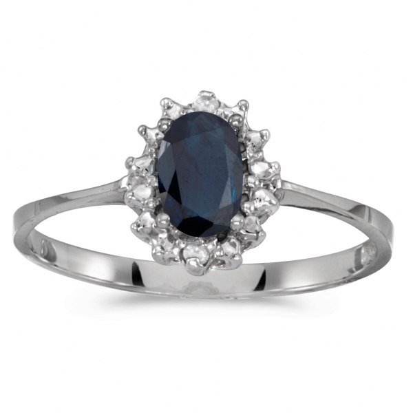 14k White Gold Oval Sapphire And Diamond Ring by Color Merchants