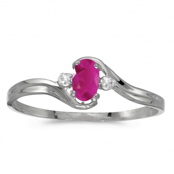 14k White Gold Oval Ruby And Diamond Ring by Color Merchants