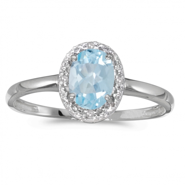 10k White Gold Oval Aquamarine And Diamond Ring by Color Merchants