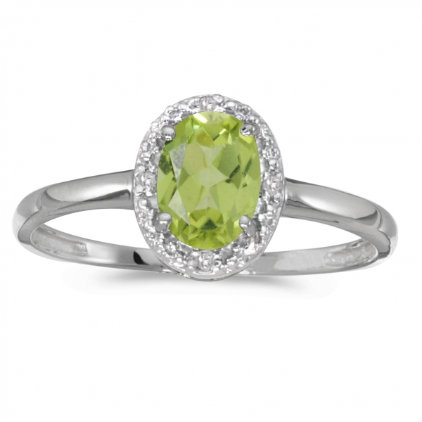 10k White Gold Oval Peridot And Diamond Ring by Color Merchants