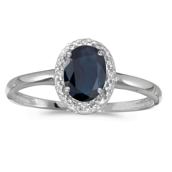 10k White Gold Oval Sapphire And Diamond Ring by Color Merchants