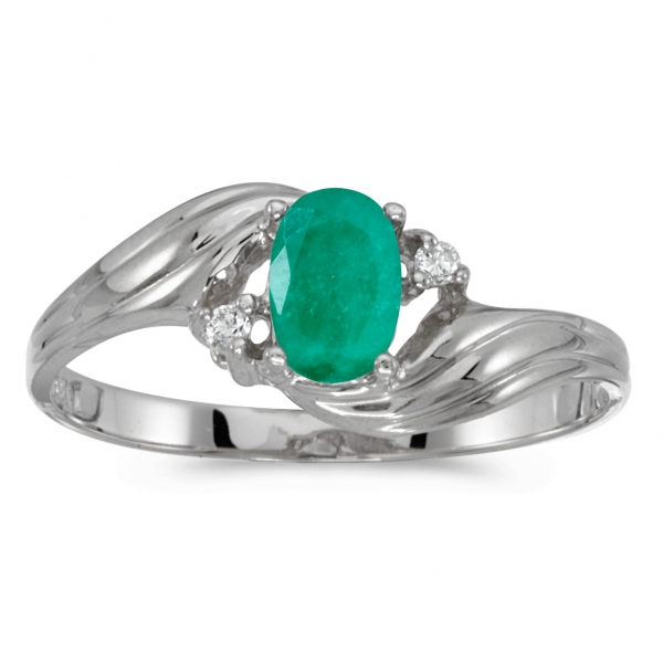 10k White Gold Oval Emerald And Diamond Ring by Color Merchants