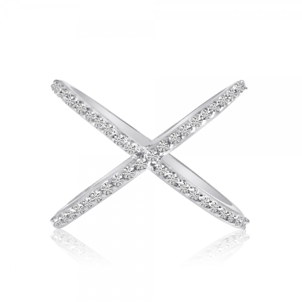 "14k White Gold ""X"" Ring with Diamonds by Color Merchants"