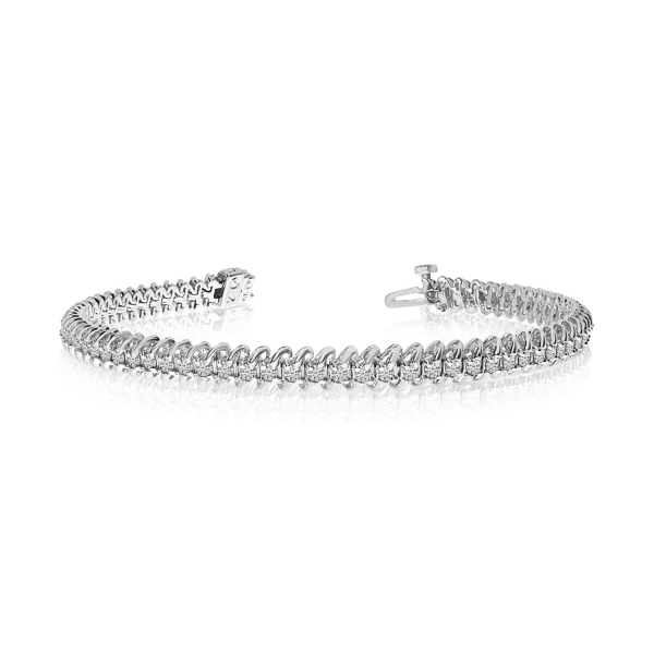 "14K White Gold Soft ""S"" Illusion Diamond Bracelet by Color Merchants"