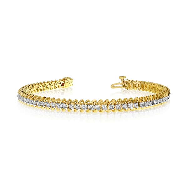 14k Yellow Gold S-Link Diamond Bracelet by Color Merchants