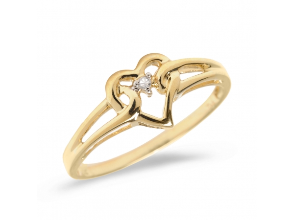 14K Yellow Gold Diamond Heart Ring - 14K Yellow Gold Diamond Heart Ring