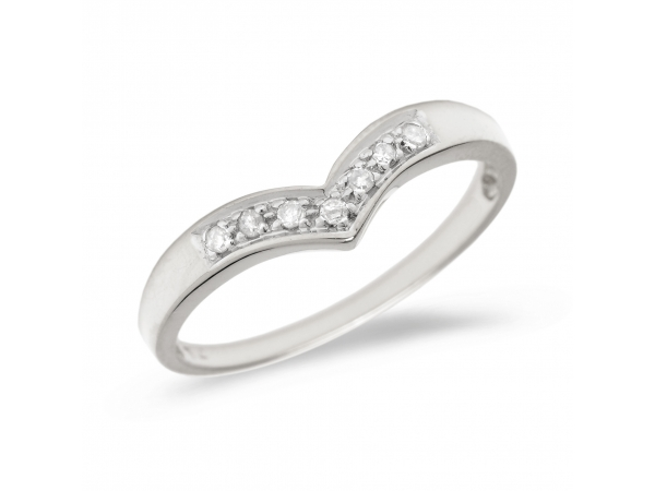 14K White Gold Diamond Chevron Ring by Color Merchants