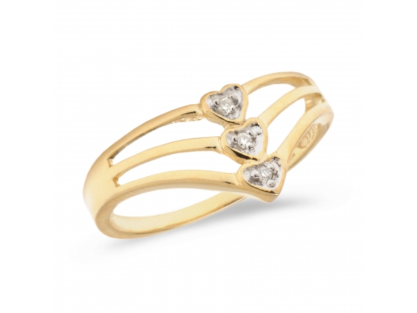 10K Yellow Gold Diamond Heart Ring - Stylish three row promise ring set in 10k gold with shimmering diamonds.