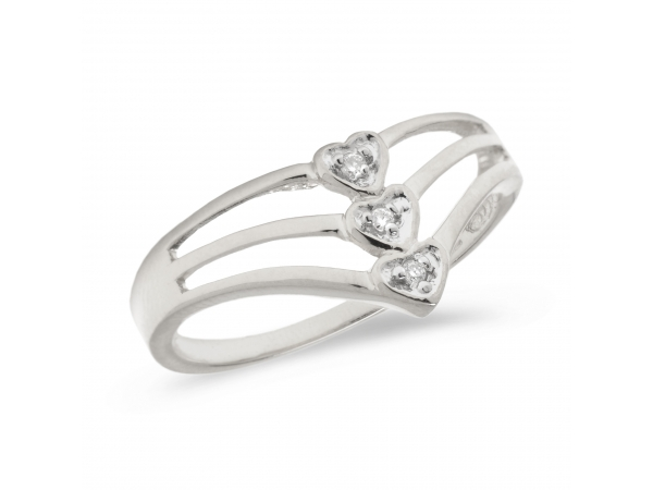 10K White Gold Diamond Heart Ring by Color Merchants
